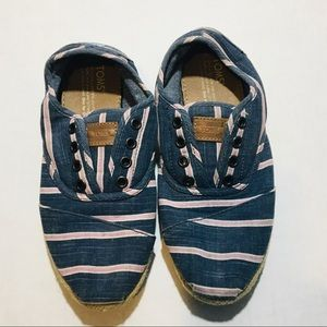 Toms Striped Canvas Slip Ons Shoes
